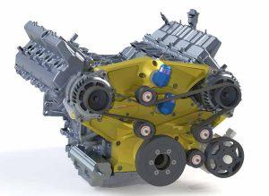 Custom timing belt cover for Hemi engine